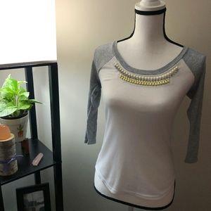 Princess Vera Wang White x Gray Embellished Shirt